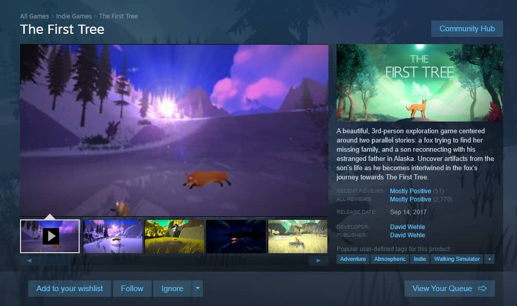 The First Tree on steam with good reviews